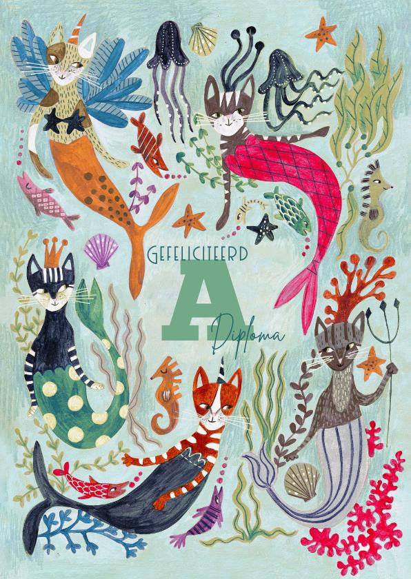 Geslaagd kaarten - Zwemdiploma zeemeermin of meerkatten