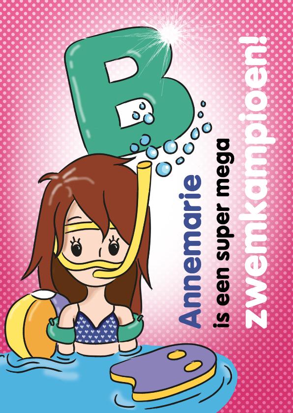 Geslaagd kaarten - Zwemkampioen B meisje