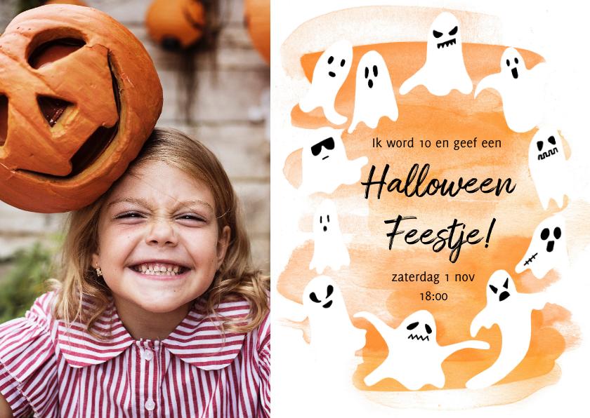 Halloween kaarten - Halloween feest fotokaart met spoken