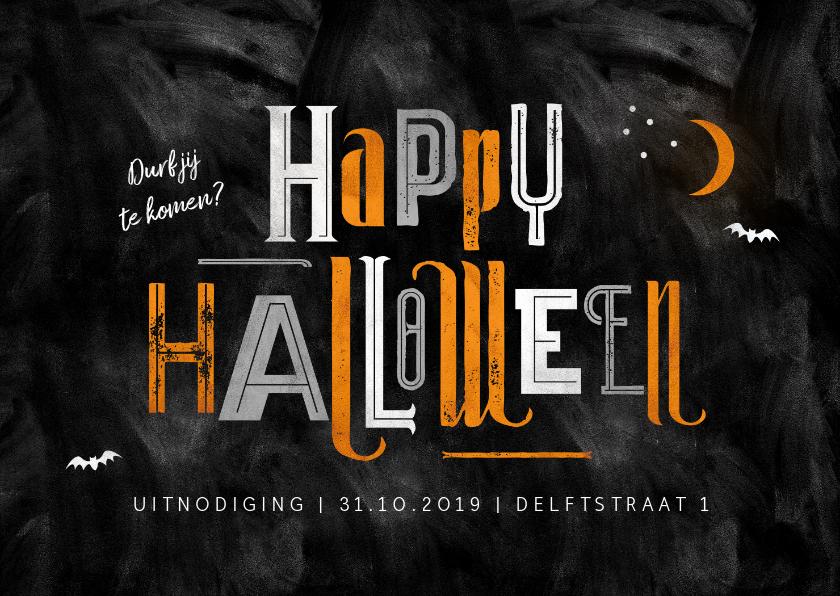 Halloween kaarten - Halloween feest uitnodiging happy halloween typografie