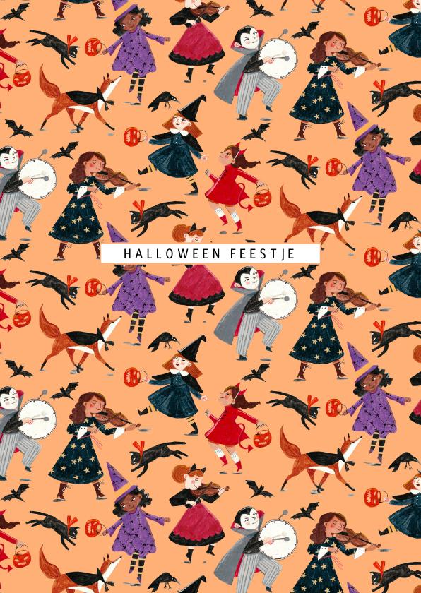 Halloween kaarten - Halloween feestje illustratie kinderen verkleed