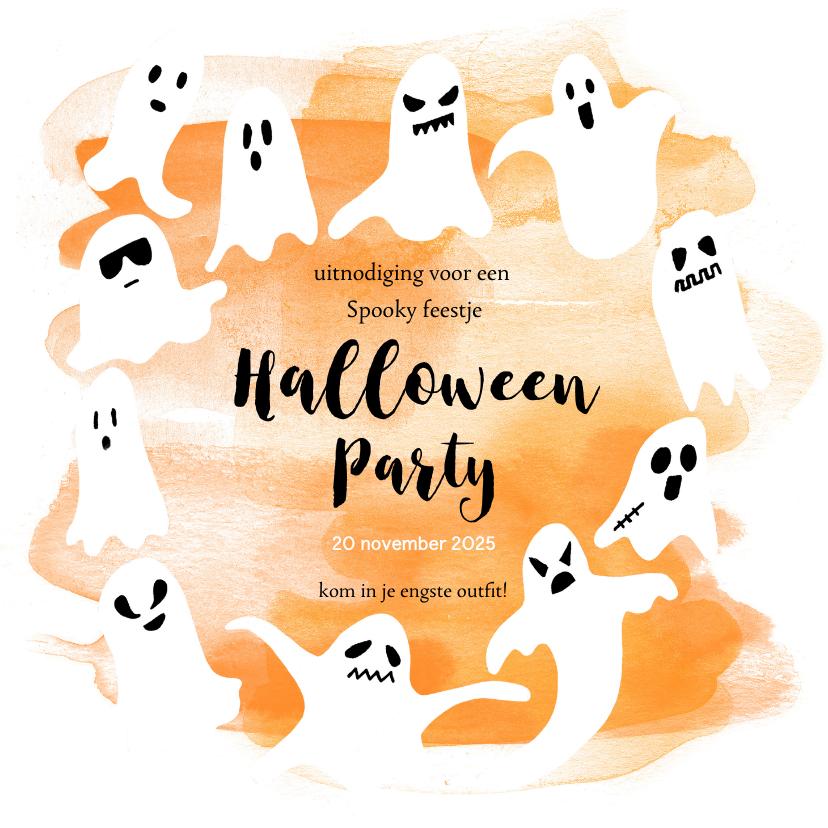 Halloween kaarten - Halloween feestje spoken en waterverf