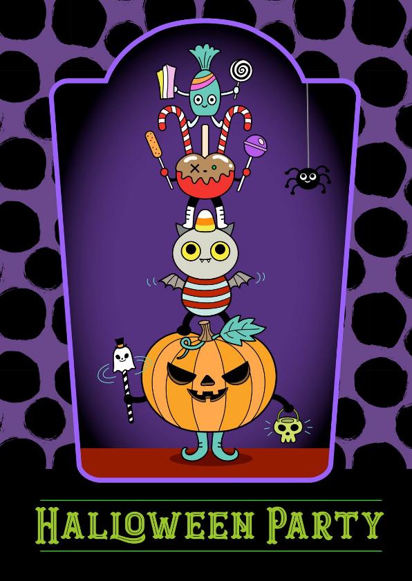 Halloween kaarten - Halloween party candy