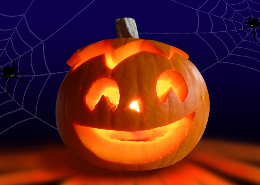 Halloween kaarten - Halloween Pompoen met kaarslicht