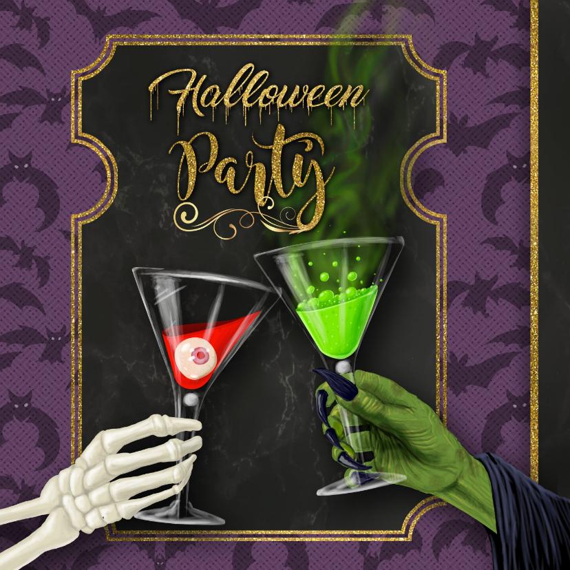 Halloween kaarten - Halloween uitnodiging skelet en heks proosten