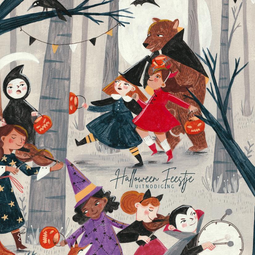 Halloween kaarten - halloween verkleed feestje