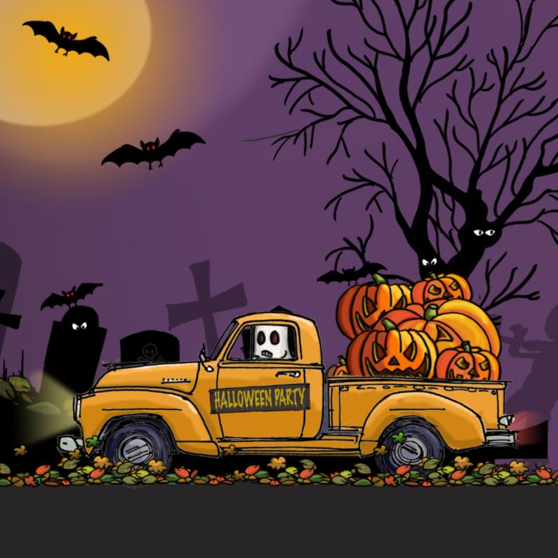 Halloween kaarten - Halloween vrachtwagen geel