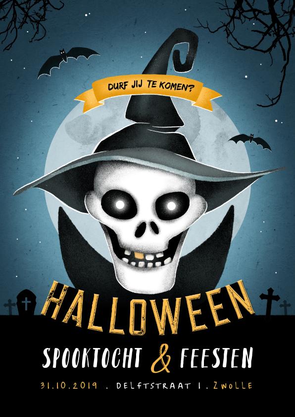 Halloween kaarten - Halloweenfeest uitnodiging scary maan skelet
