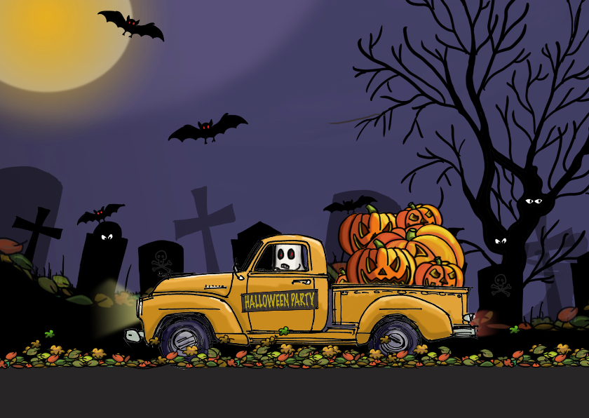 Halloween kaarten - Halloweenkaart auto met pompoen