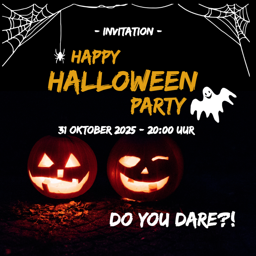 Halloween kaarten - Happy halloween party - do you dare?