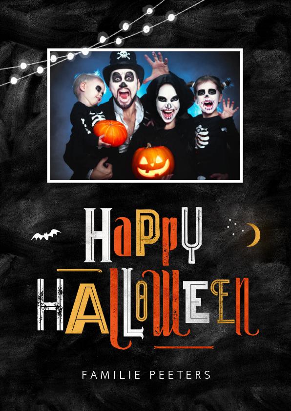 Halloween kaarten - Happy halloween wenskaart foto nacht typografie