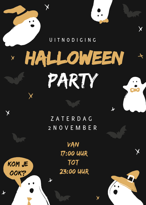 Halloween kaarten - Uitnodiging halloweenfeest happy halloween illustratie
