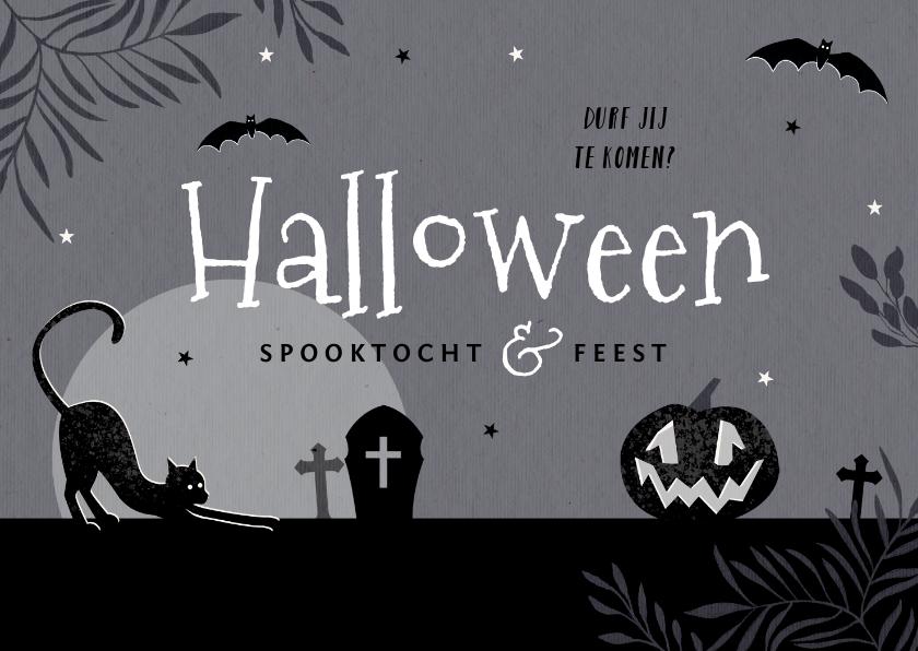 Halloween kaarten - Uitnodiging halloweenfeest spooktocht donker pompoen kat