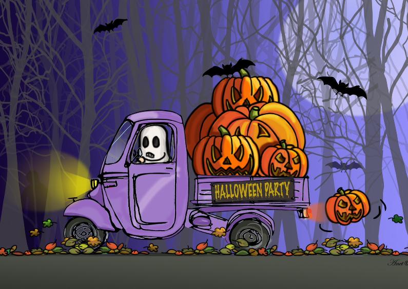 Halloween kaarten - Vespa Ape Halloween