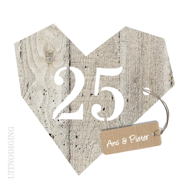 Jubileumkaarten - 25 jaar huwelijk - houten hart