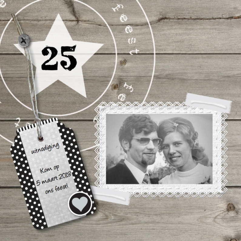 Jubileumkaarten - 25 jarig foto huwelijksjubileum hout design
