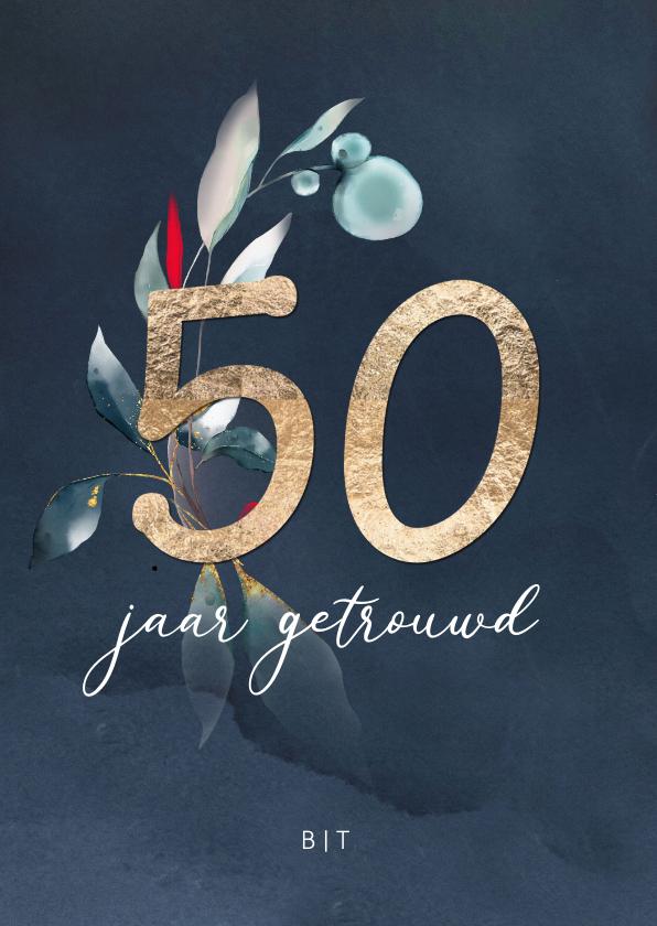 Jubileumkaarten - 50 jaar huwelijksjubileum uitnodiging goudlook