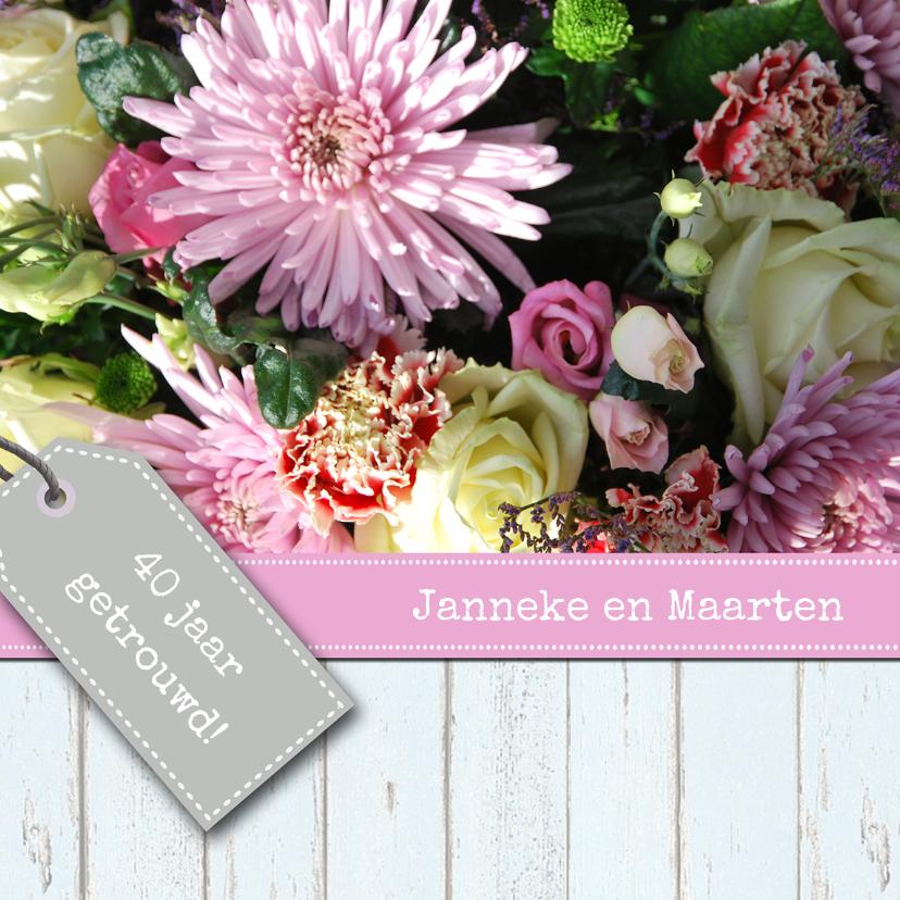 Jubileumkaarten - Bloemenroze met labels