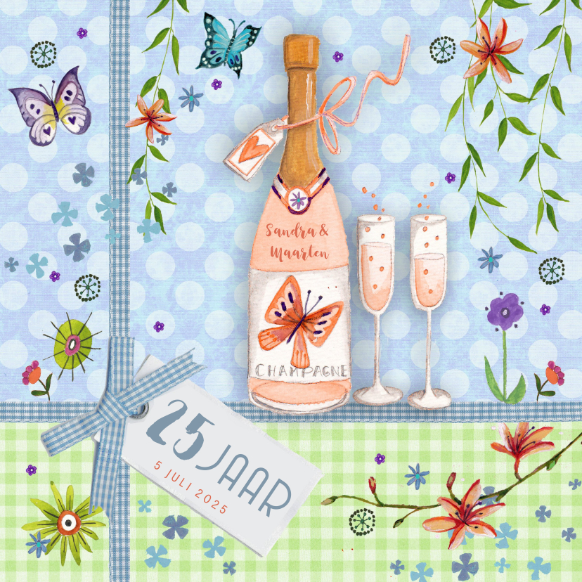 Jubileumkaarten - Botanische jubileumkaart met champagne