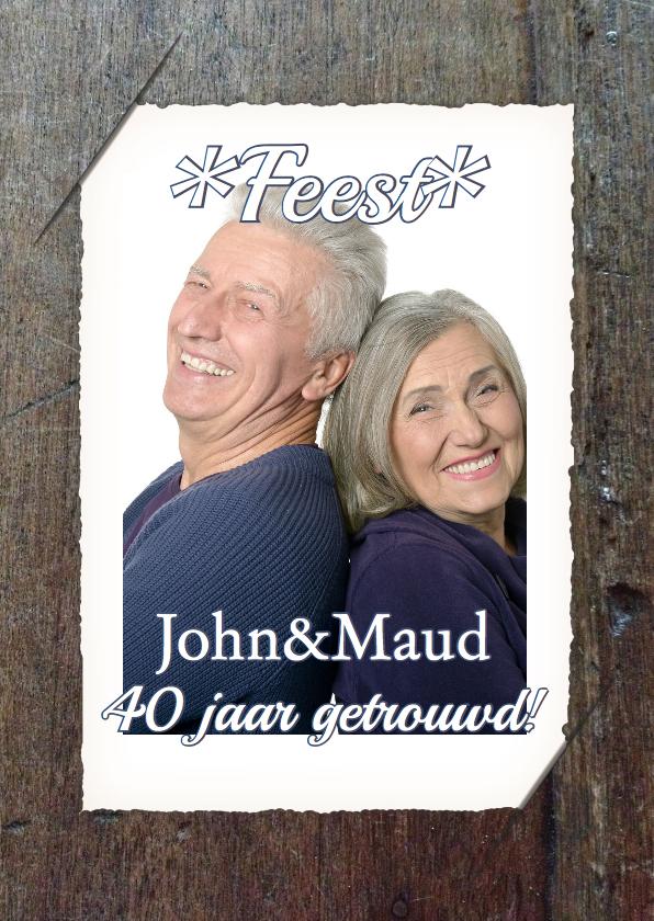 Jubileumkaarten - Feest jubileum foto en hout RB