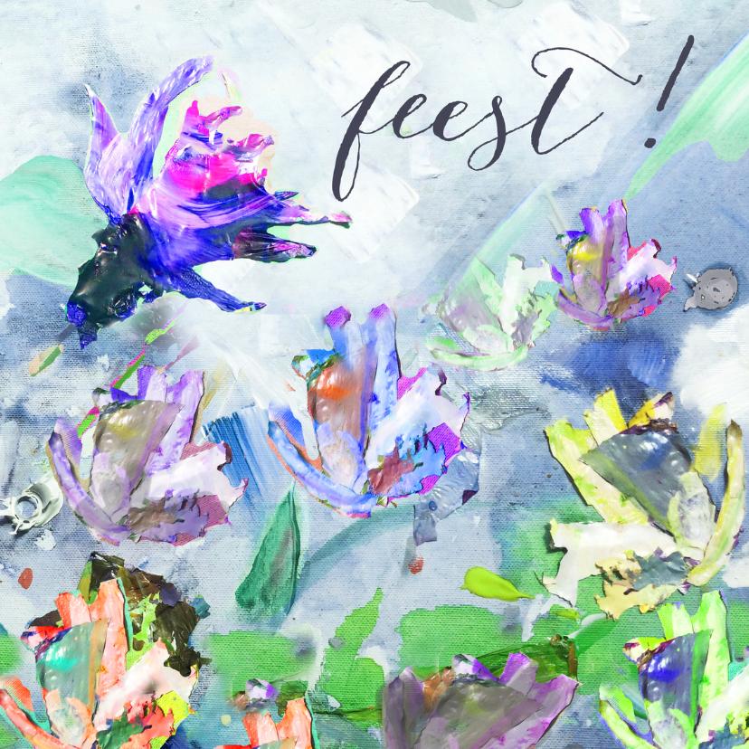 Jubileumkaarten - Feest! Schilderij print bloemen
