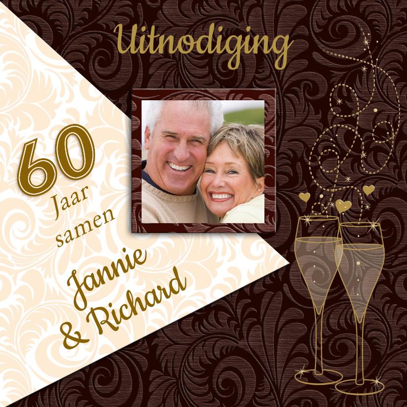 Jubileumkaarten - Feestelijke jubileumkaart voor stel dat 60 jaar samen is