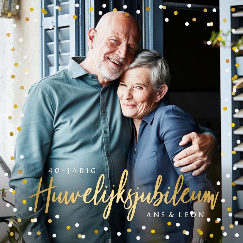 Jubileumkaarten - Feestelijke kaart huwelijksjubileum confetti met foto