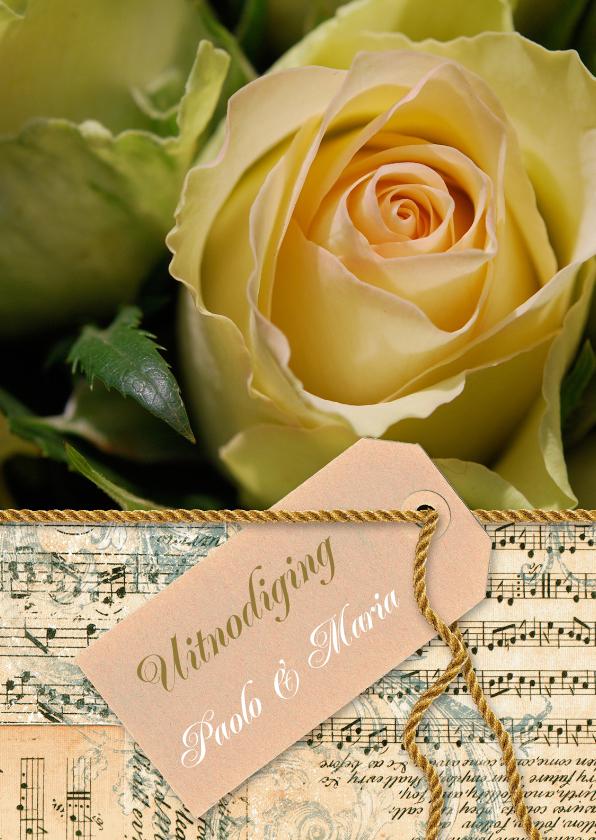 Jubileumkaarten - Gele roos noten label goud tekst