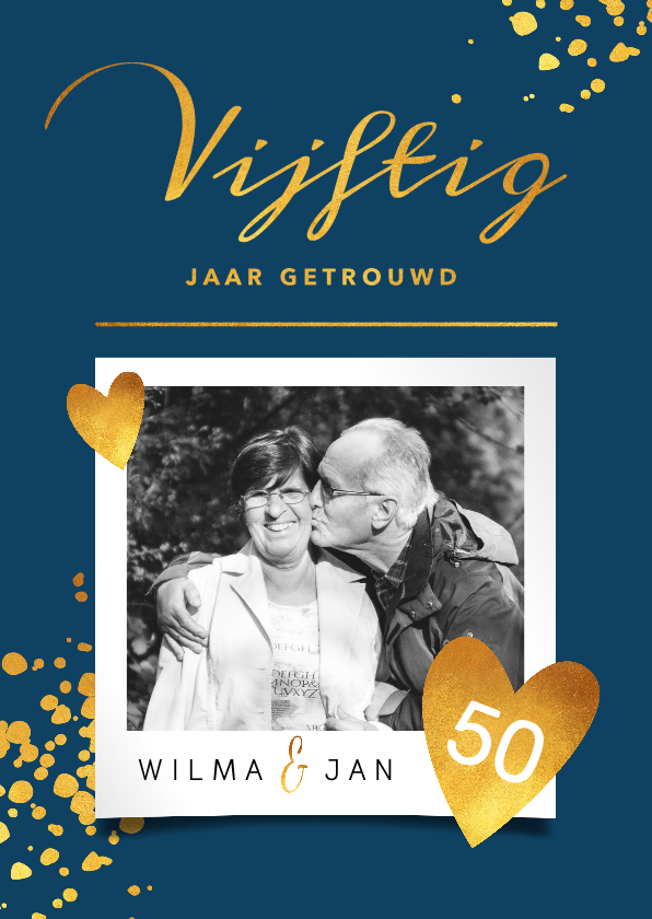Jubileumkaarten - Goudlook stijlvolle jubileumkaart 50 jaar met foto