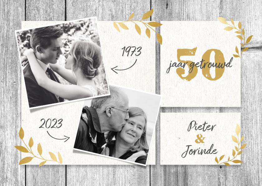 Jubileumkaarten - Hippe jubileumkaart 50 jaar met hout, gouden takjes & foto's