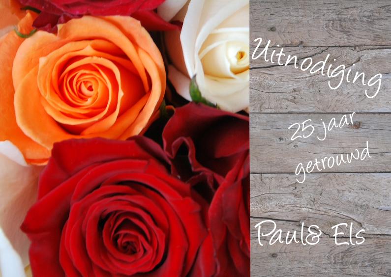 Jubileumkaarten - Hout en rozen rood oranje wit