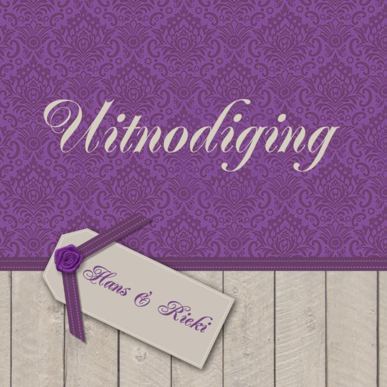 Jubileumkaarten - Hout paarse print uitnodiging