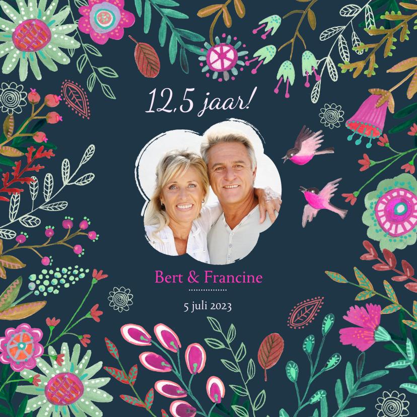 Jubileumkaarten - Huwelijks jubileum 12,5 jaar bloemen