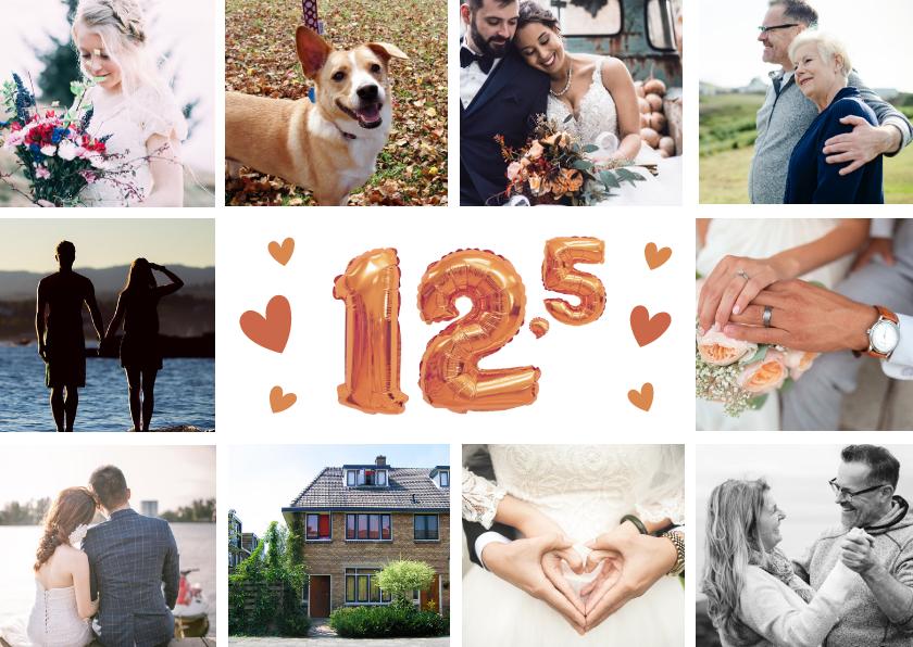 Jubileumkaarten - Huwelijksjubileum 12,5 jaar - Fotocollage uitnodiging koper