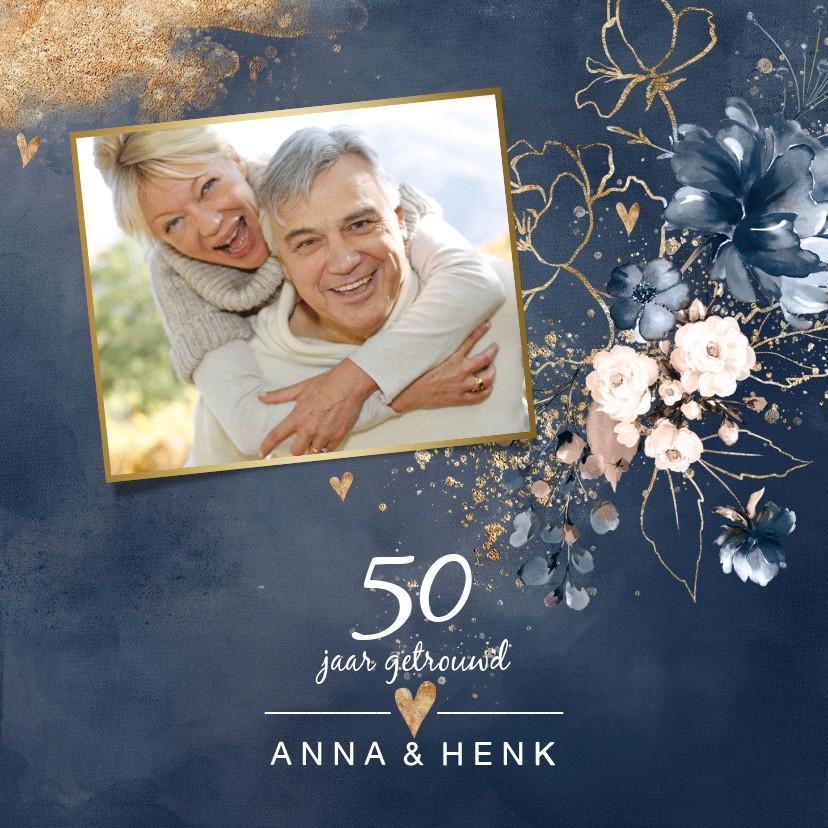 Jubileumkaarten - Huwelijksjubileum 50 uitnodiging aquarel bloemen