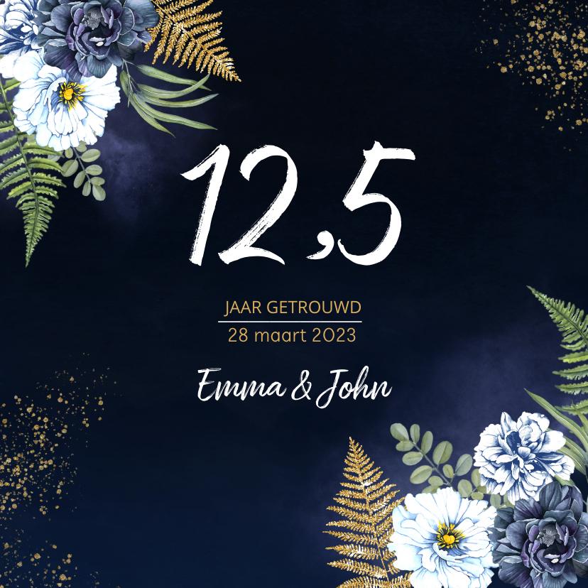 Jubileumkaarten - Huwelijksjubileum blauwe pioen goud