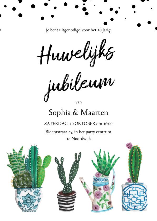 Jubileumkaarten - Huwelijksjubileum cactus uitnodiging