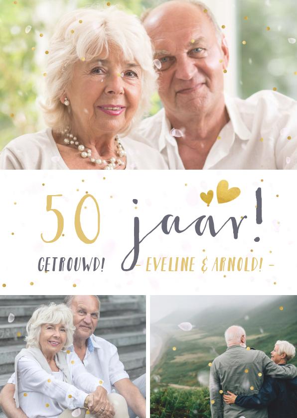 Jubileumkaarten - Huwelijksjubileum fotocollage uitnodiging met 3 foto's