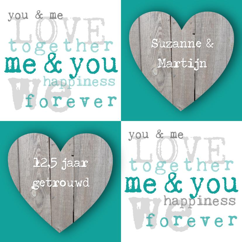 Jubileumkaarten - Huwelijksjubileum harten tekst