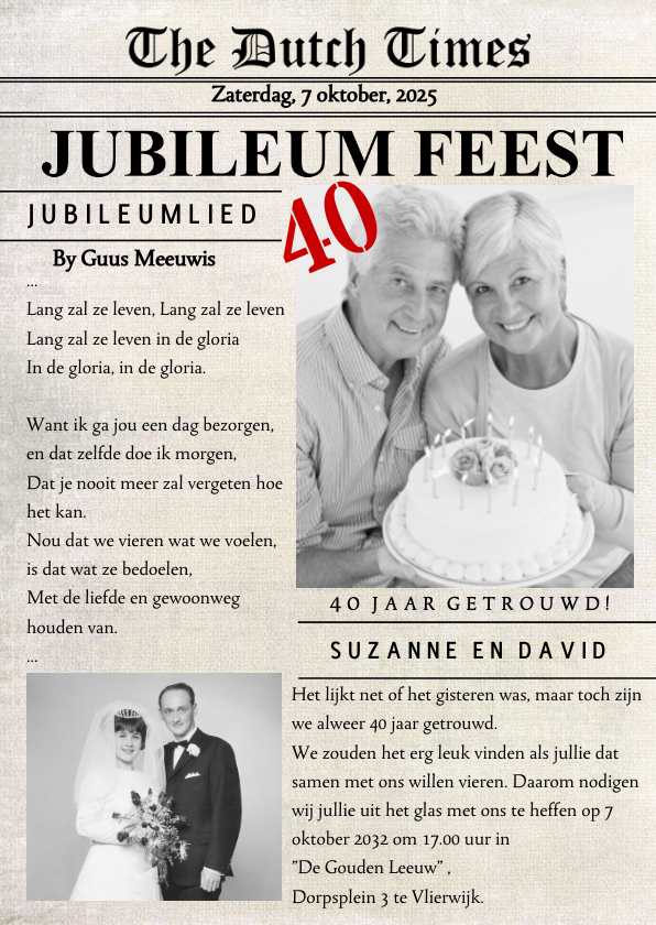 Jubileumkaarten - Huwelijksjubileum krant Foto xx Jaar