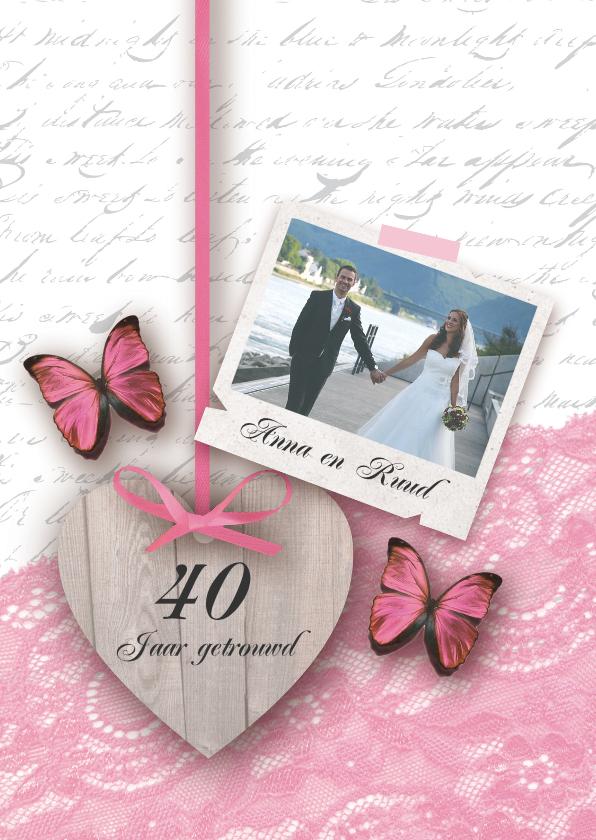Jubileumkaarten - Huwelijksjubileum romantisch foto hart vlinders