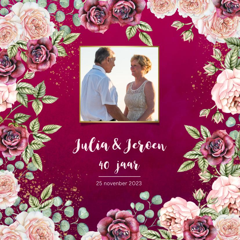Jubileumkaarten - Huwelijksjubileum rozen bordeaux