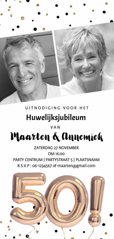 Jubileumkaarten - Huwelijksjubileum uitnodiging ballonnen