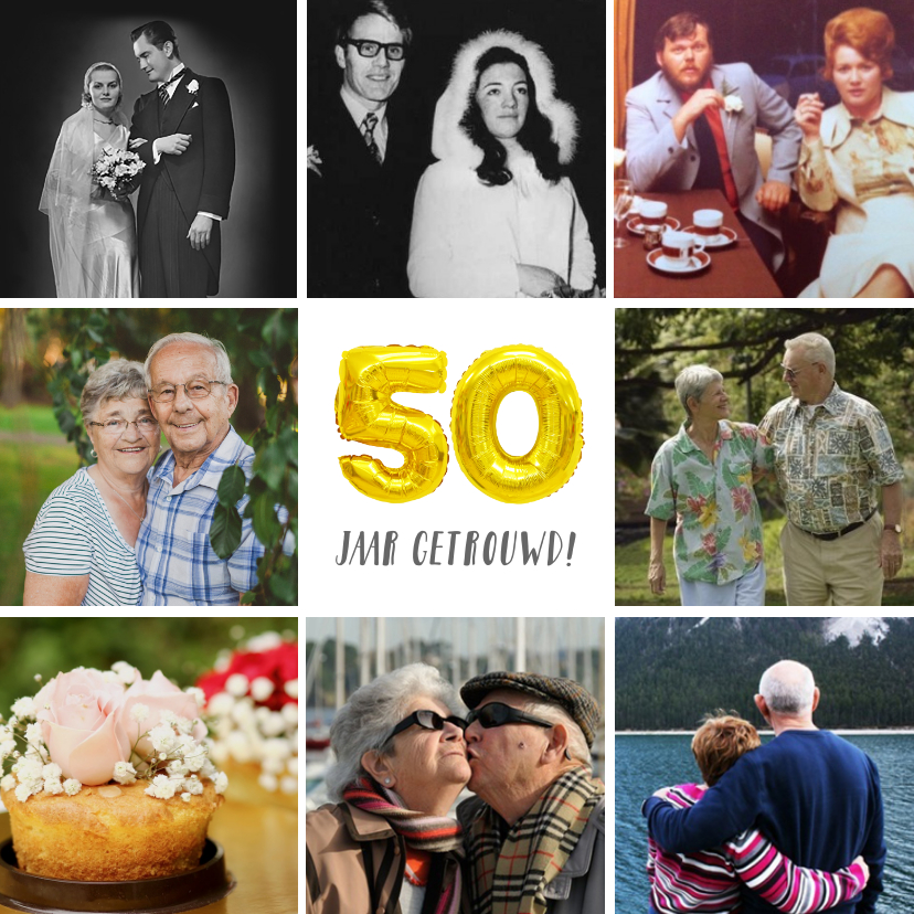 Jubileumkaarten - Huwelijksjubileum uitnodiging fotocollage 50 jaar getrouwd
