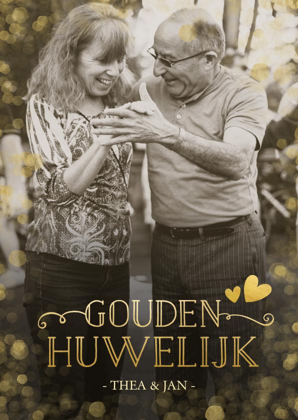 Jubileumkaarten - Huwelijksjubileum uitnodiging gouden huwelijk confetti