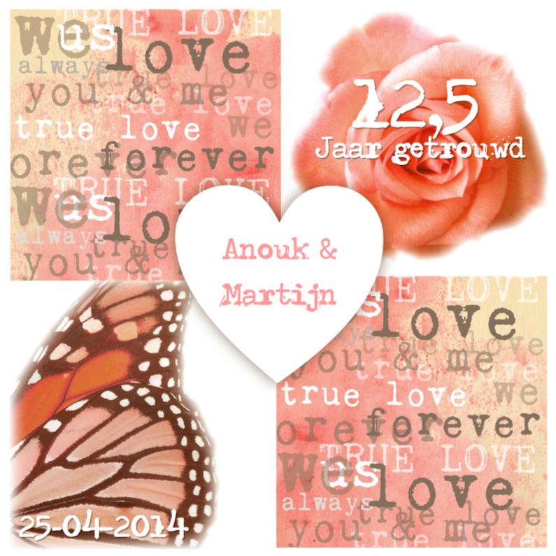 Jubileumkaarten - Huwelijksjubileum uitnodiging hart bloem vlinder