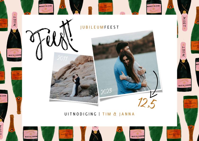 Jubileumkaarten - Huwelijksjubileum uitnodiging met champagne en foto's