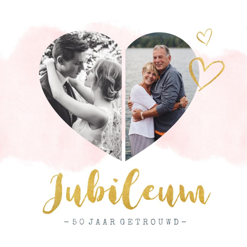 Jubileumkaarten - Huwelijksjubileum uitnodiging met fotohart en gouden letters