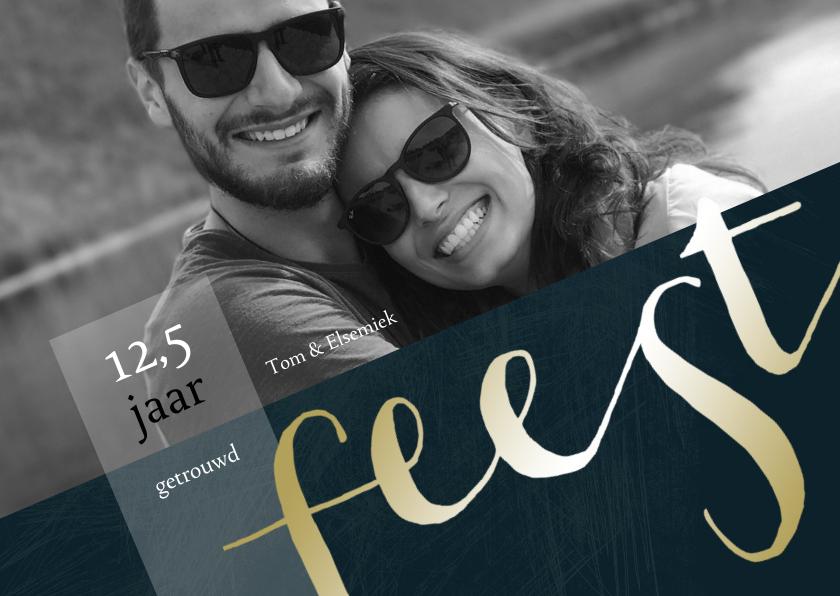 Jubileumkaarten - Jubileum 12,5 jaar getrouwd met grote foto en goudlook