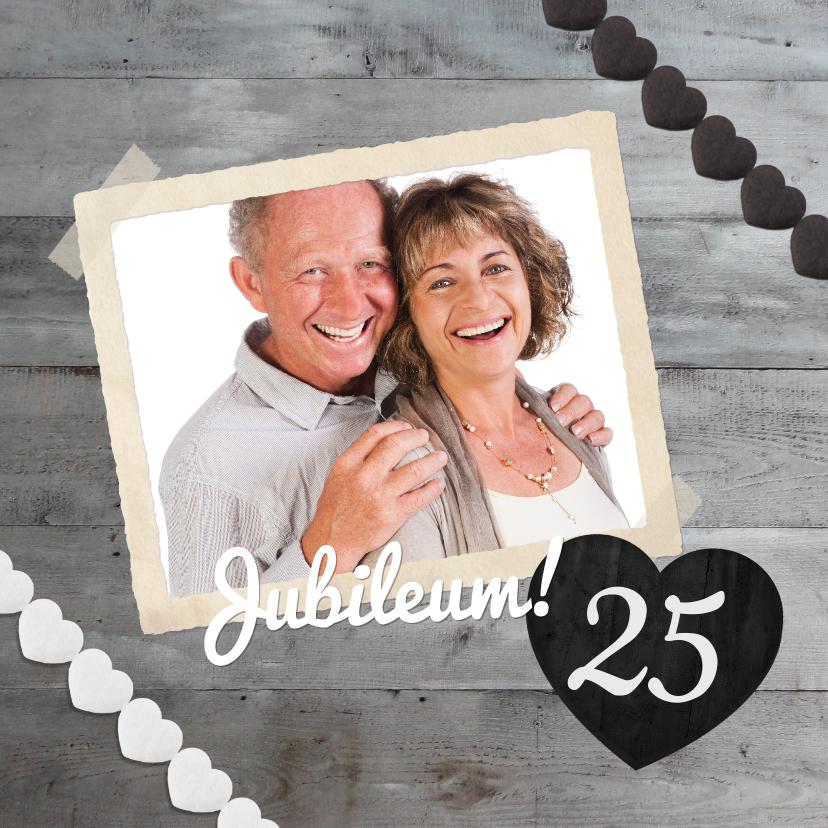 Jubileumkaarten - Jubileum 25 Hout & Grijs stijlvol